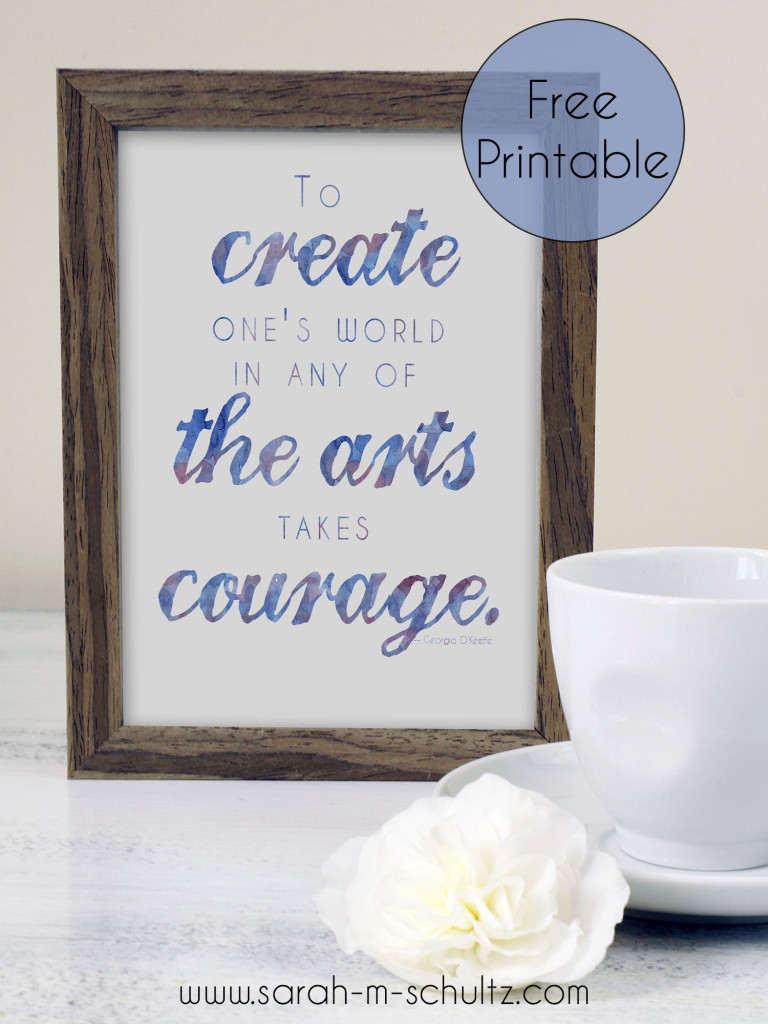 Free Printable: Watercolor Quote by Georgia O'Keeffe